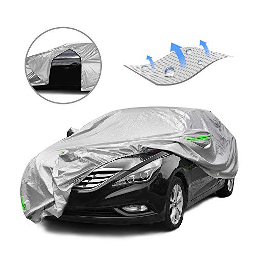 Tecoom Breathable Material Door Shape Zipper Design Waterproof UV-Proof Windproof Car Cover with Storage and Lock for All Weather Indoor Outdoor Fit 191-200 inches Sedan