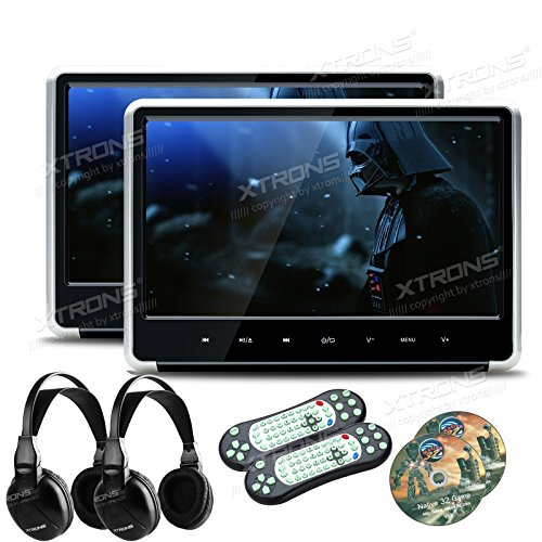(XTRONS Silver 2X 11.6 Inch Pair HD Digital Touch Panel Car Auto Headrest Active DVD Player Kid Games Built-in HDMI Port Headphones Included)