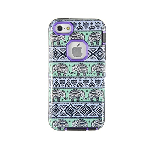 5C case, 5C Amror Case, *No fade/No Peel*, Magicsky Tribe Elephent Pattern PC + TPU 3in1 Full Body Hybrid Impact Scratch Resistant, Shockproof Defender Case Cover for iPhone 5C (Elephent/Purple)