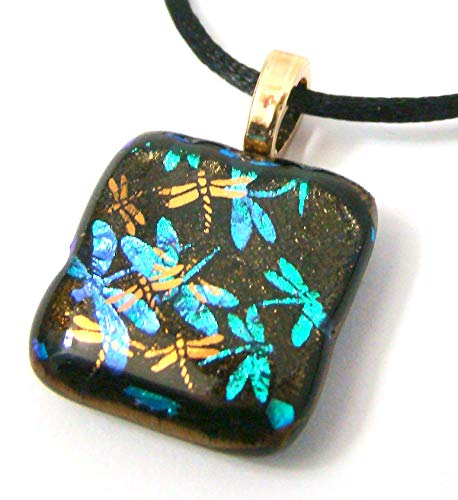 Blue Dichroic Glass Dragonflies with 22K Gold DF Overlay Pendant Necklace ()