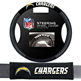 nfl chargers car seat covers - Fremont Die San Diego Chargers NFL Steering Wheel Cover and Seatbelt Pad Auto Deluxe Kit
