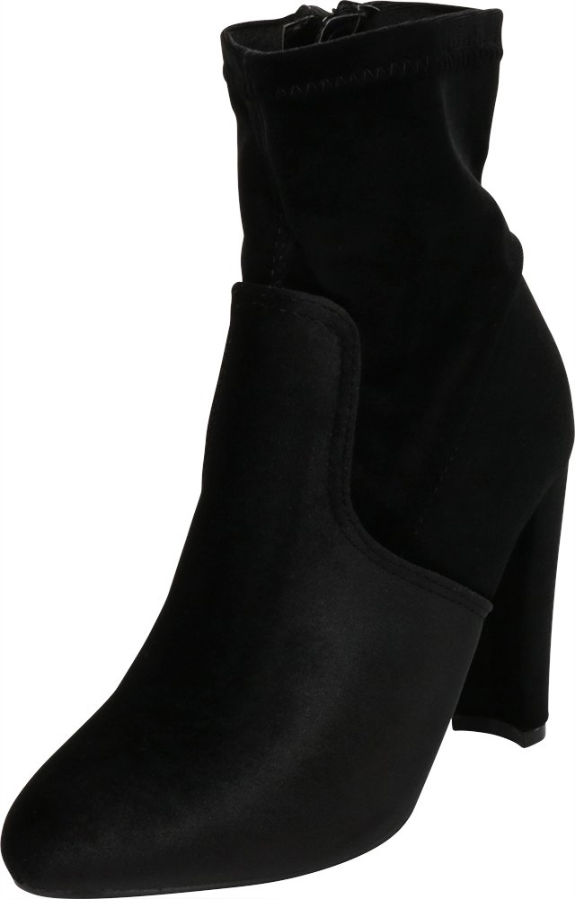 Cambridge Select Women's Closed Round Toe Soft Stretch Sock-Style Chunky Stacked Wrapped Heel Ankle Bootie (9 B(M) US, Black Velvet)