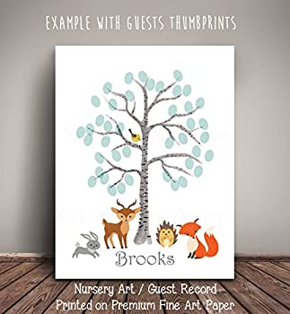 Woodland Creatures Birch Thumbprint Tree - Nursery Art/Guest Record for Woodland Baby Shower WCBR001