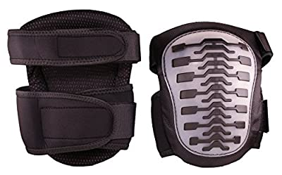 Heavy Duty Knee Pads- Large- Multi-Surface- Extra Thick Comfort Foam- Hard Cap with Thermoplastic Rubber Anti-Slip Grip Strips and Shock Absorbers- Adjustable Size Elastic Straps- GrayBlack- One Pair