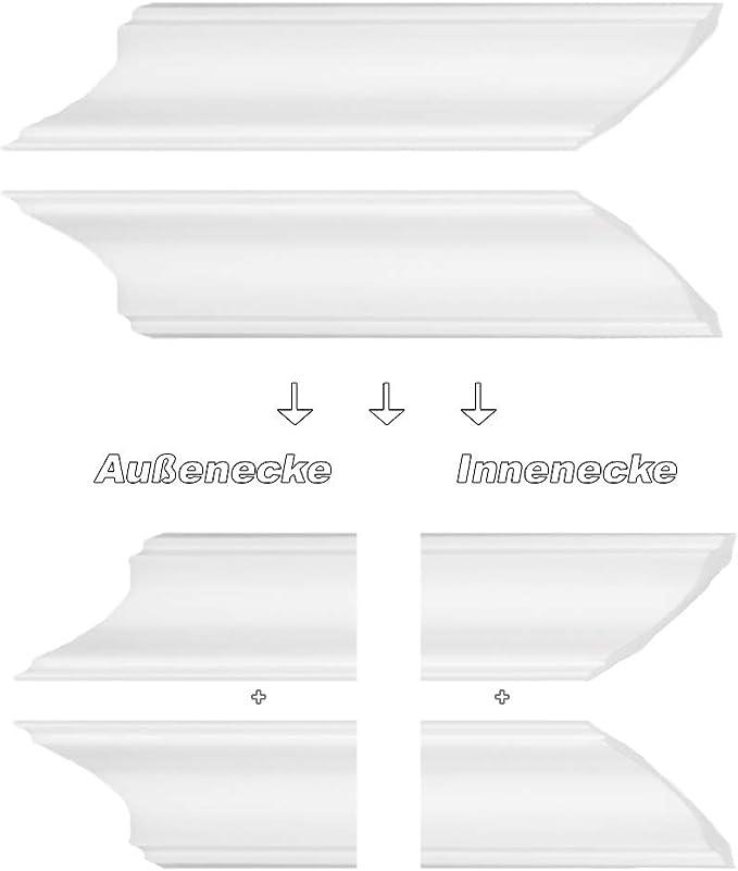 DJ50 30/m/ètres Stuc Profils Stuc D/écor Moulures Plafond Polystyr/ène rigide 50/x 50/mm