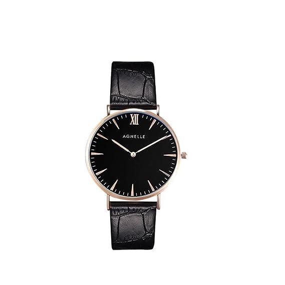 Negocios luminosa quartz watch de men, Impermeable Ultra delgada Cronógrafo Deportes Correa de cuero Causal Moda Clásica Reloj de pulsera doble grande-E: ...