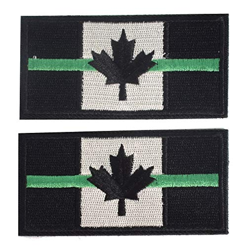 SHELCUP 2 Pieces Thin Green Line Canada Flag Canadian Maple Leaf Tactical Morale Patches Military Emblem