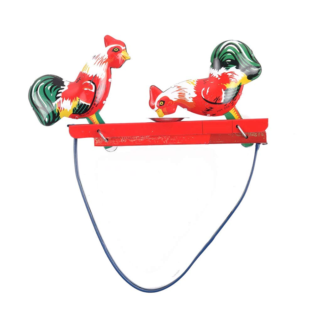 Kids Vintage Iron Cartoon Cock Rooster Pecking Rice Wind-up Toy Classic Gift