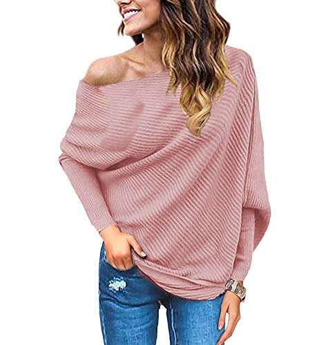 GOLDSTITCH Women's Off Shoulder Batwing Sleeve Loose Pullover Sweater Knit Jumper Pink