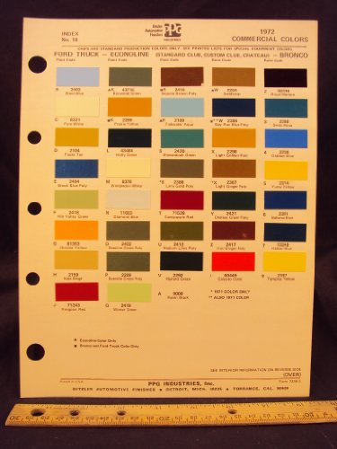 1972 FORD Truck, Econoline Van (Standard Club, Custom Club, Chateau), & Bronco Paint Colors Chip Page