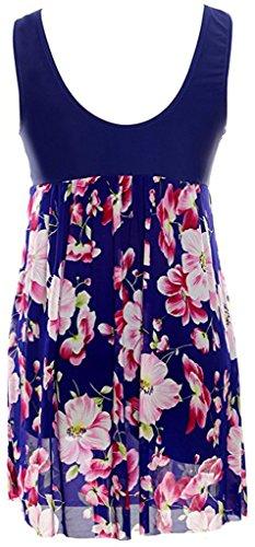 un Modello Costumi Blu Fiore da Sawadikaa Annata Donne interi Costumi Monokinis Costume Coprire Bagno Pezzo BaqES