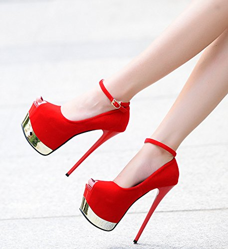 Single The With Mouth Waterproof With Days Nightclubs 17Cm High GTVERNH Strap Shoes Ultra Shoes Red The Shoes Women Fine 39 Fish Sexy Hate vnqwtnPpx6
