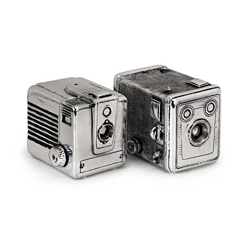 Imax 36130-2 Vintage Camera Boxes, Silver - Set of 2