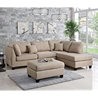 Pistoia 3 Pieces Sectional Sofa with Ottoman Upholstered in Sand Linen-like Fabric