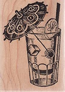 Umbrella drink wood mounted rubber stamp for Rubber stamps arts and crafts