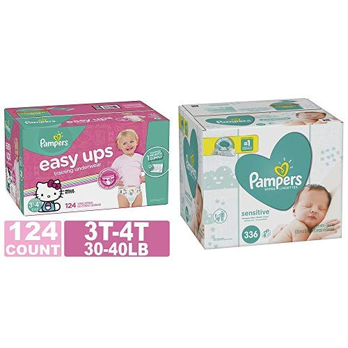 Pampers Easy Ups Training Pants Pull On Disposable Diapers for Girls, Size 5 (3T-4T), 124 Count, ONE MONTH SUPPLY with Baby Wipes Sensitive 6X Pop-Top Packs, 336 Count