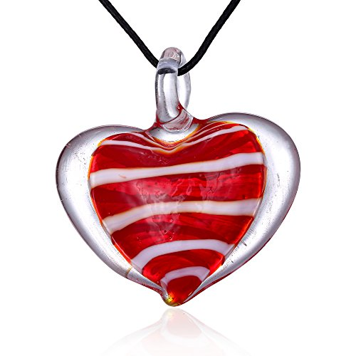 Bleek2Sheek Candy Heart Murano-style Glass Pendant Necklace (Red Cherry) - Red Murano Glass Pendant