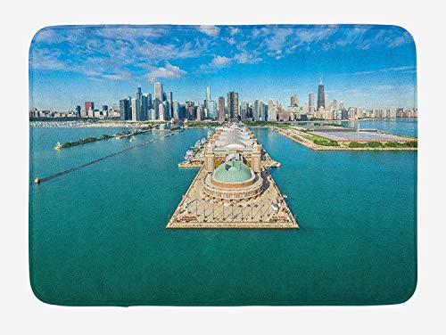 TAQATS Chicago Skyline Bath Mat, Aerial Panorama of Navy Pier Marine Metropolis Big City Silhouette View, Plush Bathroom Decor Mat with Non Slip Backing, 23.6 W X 15.7 W Inches, Multicolor]()