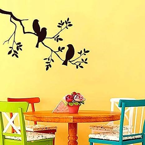 yaonuli Tres pájaros en el árbol Pegatinas de Pared decoración del hogar Autoadhesivo Color Personalizado Etiqueta de la Pared 57X40cm