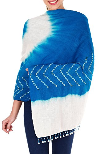 Turquoise Blue Cream Shawl Wrap For Women Indian Woolen Tie-Dye 36X80 Inch by ShalinIndia