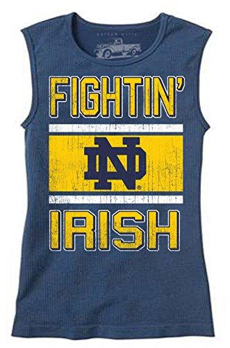 NCAA Notre Dame Fighting Irish Children Girls Sleeveless Tee,6,Midnight Blend