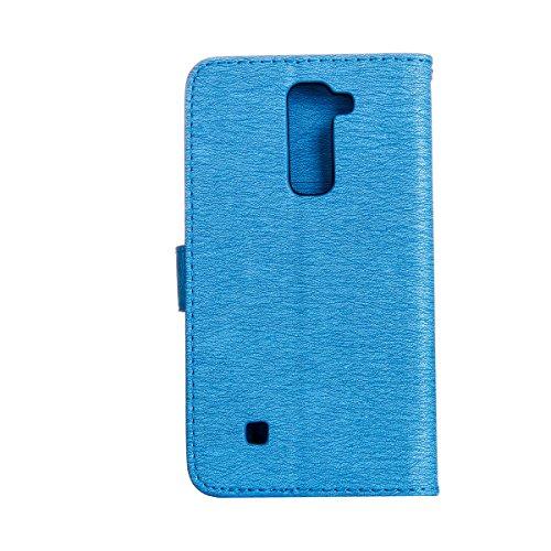 Funda LG Stylus 2 LS775, Carcasa LG Stylus 2 LS775, Funda de brillo LG Stylus 2 LS775, Lifetrut Sólido Shiny Sparkle Libro de Estilo de Cuero con Ranura para Tarjetas de Cierre Magnético Soporte Funda E201-Azul