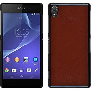 Hardcase for Sony Xperia Z2 - leather optics brown - Cover PhoneNatic + protective foils
