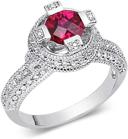 Exclusive Round Shape Checker Board Created Ruby & White CZ Size 8 Gemstone Ring in Sterling Silver Rhodium Nickel Finish