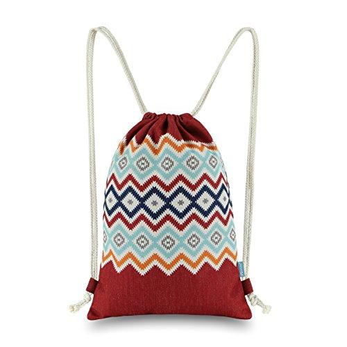 Miomao Drawstring Backpack Gym Sack Pack Bohemia Style String Bag Boho  Sinch Sack Canvas Cinch Pack d99fb88f6593d