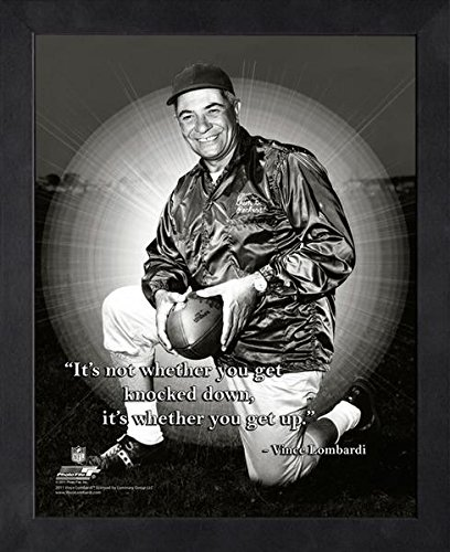 Vince Lombardi Green Bay Packers ProQuotes Photo (Size: 12'' x 15'') Framed