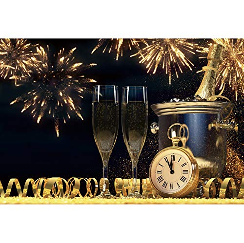 DaShan 7x5ft Polyester Champagne Fireworks 2020 Happy New Year Eve Backdrop Wine Glasses Confetti Party Countdown Photography Background New Year Christmas Eve Party Backdrop Winter Holiday Photo Prop