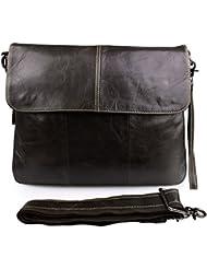 Itslife Mens Top Layer Leather Shoulder Business Messenger Bag