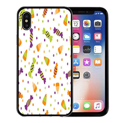 Emvency Phone Case for Apple iPhone Xs Case/iPhone X Case,Black Border of Halloween Trick Treat Candies Bright Soft Rubber Border Decorative, Black]()