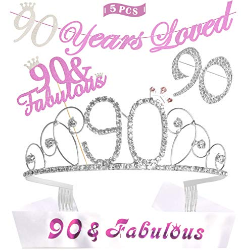 90th Birthday Sash - 90th Birthday Decorations Party Supplies, Silver