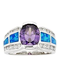 Sterling Silver Created Blue Opal & Oval Amethyst CZ Ring
