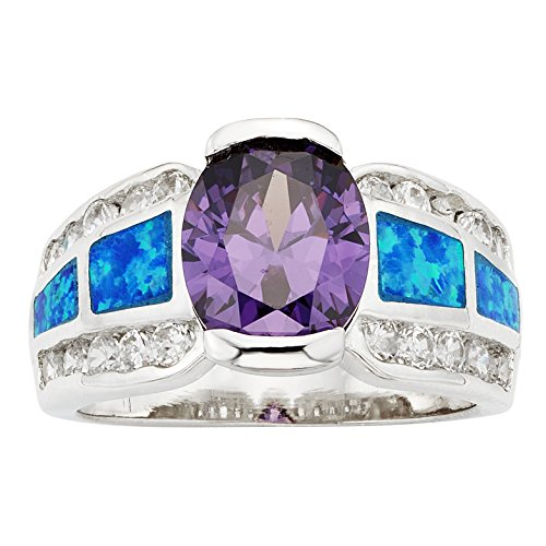 Sterling Silver Created Blue Opal Oval Amethyst CZ Ring