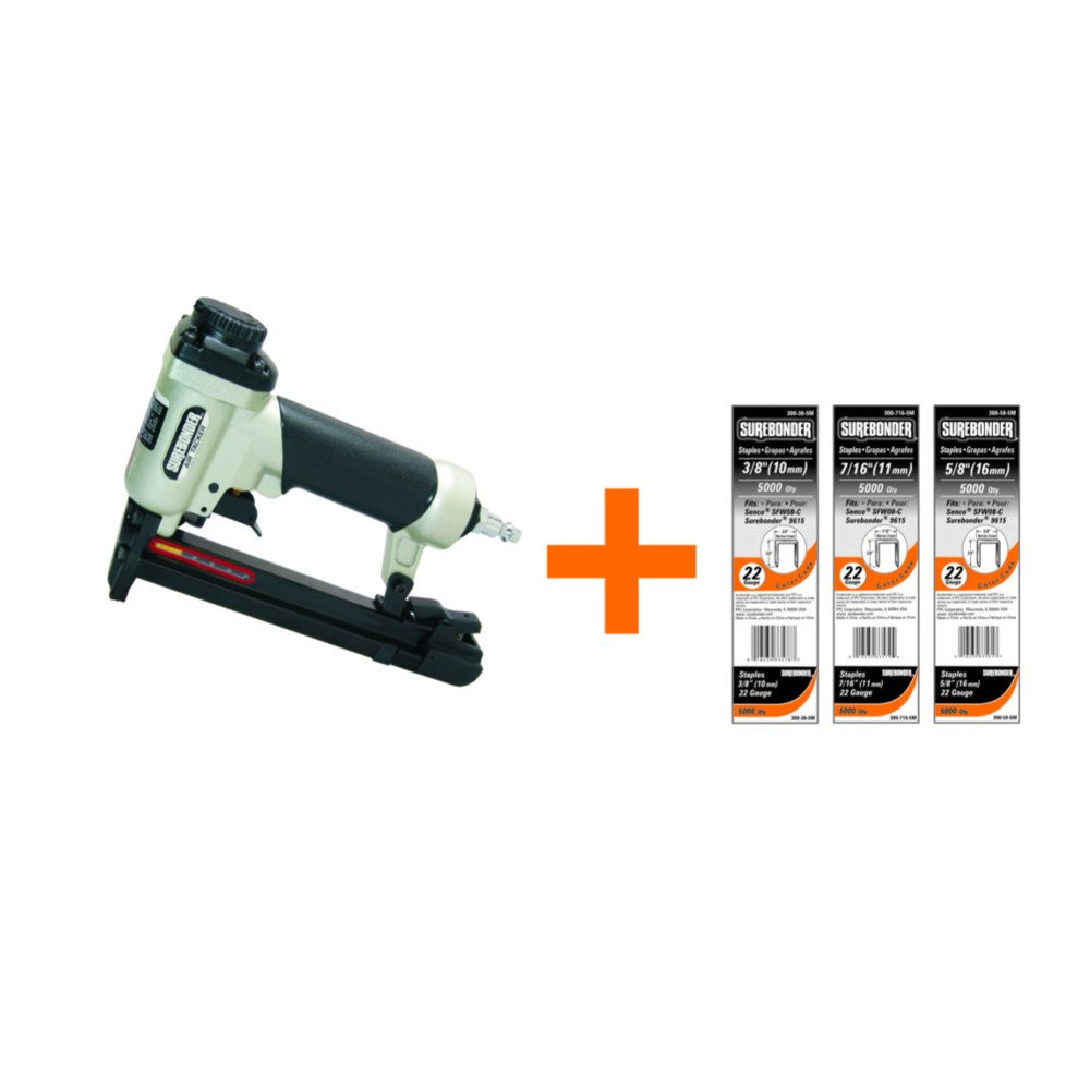 Surebonder 9615A-300-3A 22G Pneumatic Upholstery Staple Gun Kit-includes15,000 Staples (Air Compressor Needed Not Inlcuded) by Surebonder