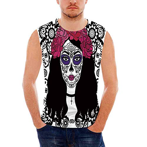 Mens Sleeveless Sugar Skull Decor Heavy Cotton H D,Girl with Sugar Skull Make Up