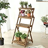 4 Tier Foldable Wood Slat Plant Rack, Decorative Indoor / Outdoor Display Shelf Stand, Brown