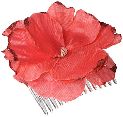 Cinco De Mayo Red Flower Plastic Hair Comb | Party -