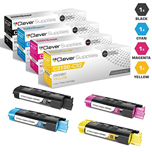 CS Compatible Toner Cartridge Replacement for Okidata C3100 43034804 Black, 43034803 Cyan, 43034802 Magenta, 43034801 Yellow Okidata C3100, C3100n, C3200, C3200n 4 Color Set