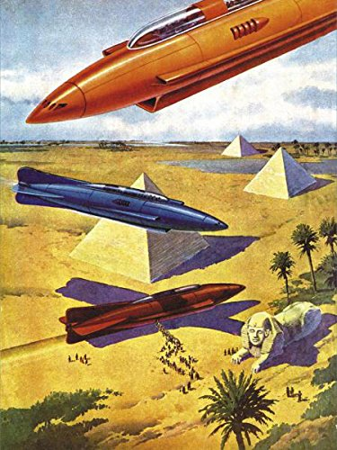 Spaceships In Ancient Egypt Retro Sci Fi Science Fiction Vintage Print Poster 18x24