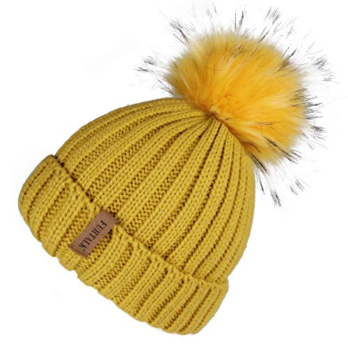 FURTALK Womens Knitted Winter Pom Beanie Hat Faux Fur Pom Pom Bobble Hat Beanie for Girls ...