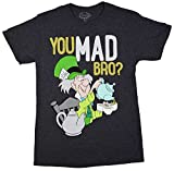 Alice In Wonderland Mad Hatter U Mad Bro? T-shirt (Small,Charcoal Heather)