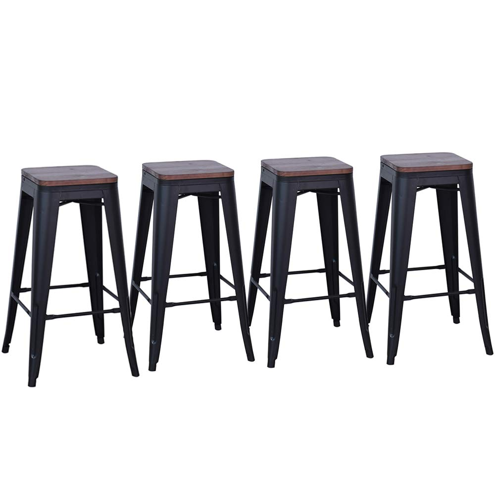 Astounding Dekea 26 Inch Backless Metal Bar Stools With Wooden Top Counter Height Barstools Set Of 4 For Kitchen Or Indoor Outdoor Dining Chairs Matte Black Unemploymentrelief Wooden Chair Designs For Living Room Unemploymentrelieforg