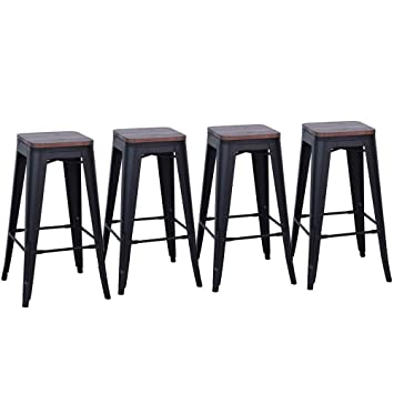 Sensational Dekea 26 Inch Backless Metal Bar Stools With Wooden Top Counter Height Barstools Set Of 4 For Kitchen Or Indoor Outdoor Dining Chairs Matte Black Creativecarmelina Interior Chair Design Creativecarmelinacom