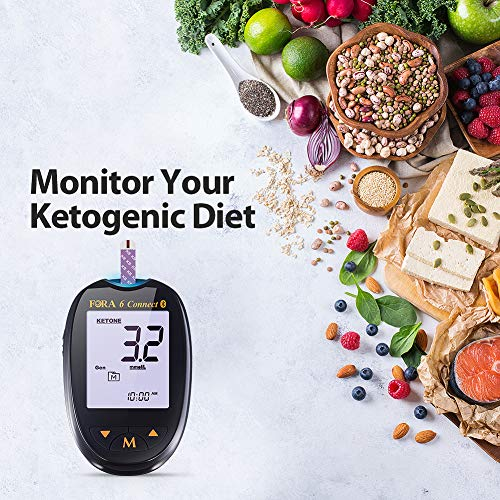 FORA6Connect Blood Ketone Testing Meter Kit, Monitor Your Ketogenic Low Carb Diet and Nutritional Ketosis via Smartphone App, 1 Meter, 1 Lancing Device, 100 Lancets, 20 Ketone Strips, Carry Case