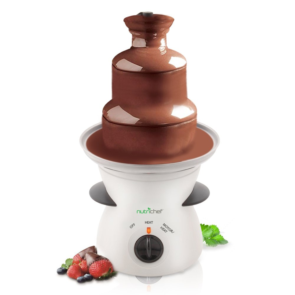 3 Tier Chocolate Fondue Fountain - Electric Stainless Choco Melts Dipping Warmer Machine - Melting, Warming, Keep Warm - for Melted Chocolate, Candy, Butter, Cheese, Caramel Dip - NutriChef PKFNMK16