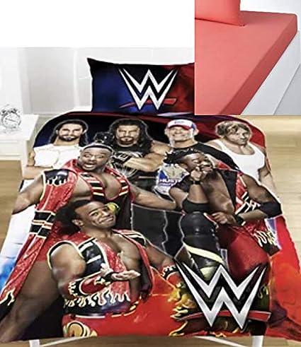 WWE SUPER 7 Double Duvet Set Official Kids Bed Legends /& FREE BLUE FITTED SHEET!