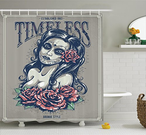 (Ambesonne Skulls Decorations Collection, Day of Dead Girl with Tattoos on Her Face Roses Lady witch Woman Timeless Sign Art, Polyester Fabric Bathroom Shower Curtain Set with Hooks, Grey Black)